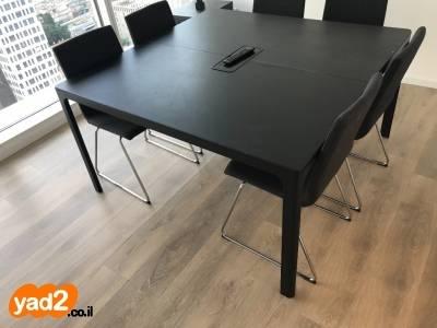 סנסציוני שולחן ישיבות/אוכל 140על140 צבע שחור,נקנה ריהוט משרדי יד שניה - ad DN-49